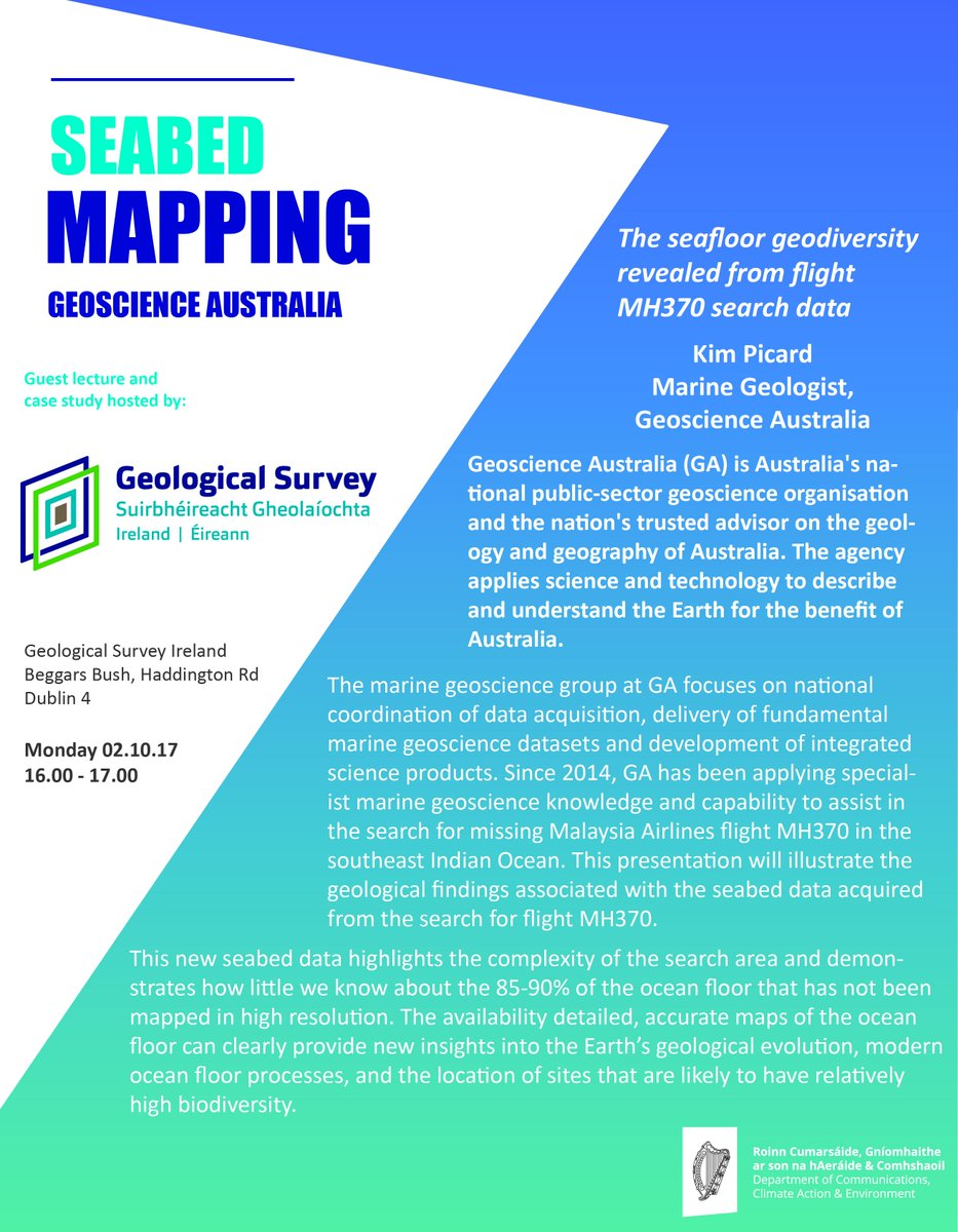 Coming 2 October, @GeoscienceAus Marine Geologist Kim Picard #research talk on marine #geology and flight MH30 data:  http:// bit.ly/2wcyKHo  &nbsp;  <br>http://pic.twitter.com/svbcNBJXgL