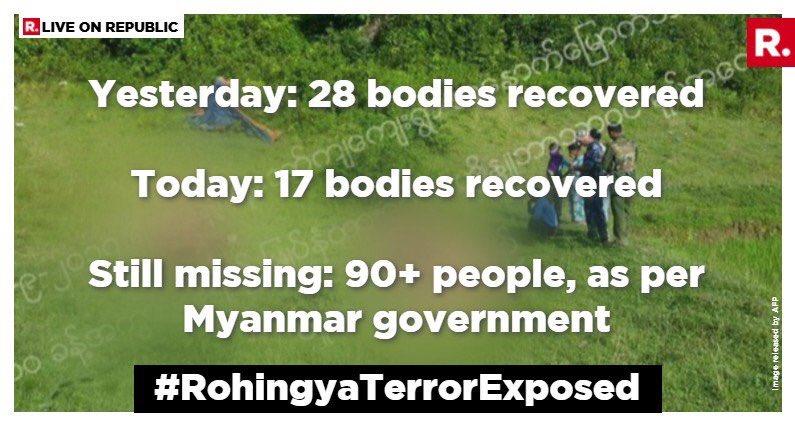 #BREAKING: #Myanmar Govt exclusively tells me: 45 tortured dead bodies of Hindus recovered from #Rakhine, #Myanmar. 90 bodies still missing. <br>http://pic.twitter.com/hMGJS4bgBh