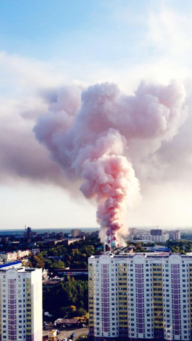 Big fire at warehouse in Chekhov near Moscow