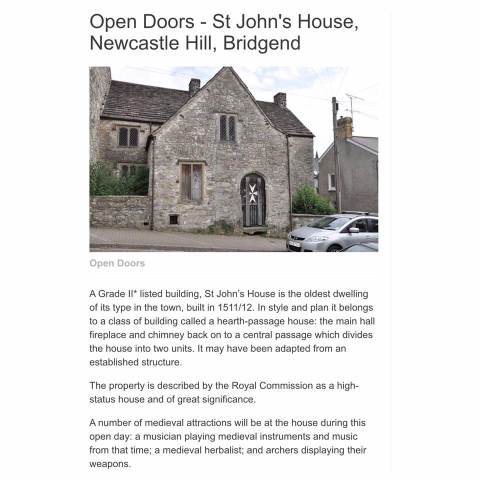 Only a few days until our #OpenDoors Event!(30/9/17) We&#39;re open 11am until 3pm! Come say hello #Wales #History #RT  http:// cadw.gov.wales/events/alleven ts/open-doors-st-johns-house-newcastle-hill-bridgend-2017/?skip=1&amp;lang=en &nbsp; … <br>http://pic.twitter.com/oyOKfCBkdp