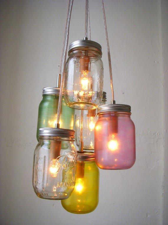 Pastel Mason jar chandelier! -etsy.com . #recycle #reuse #environment #zerowaste #creativity #amazing #wow #reuse #inspiri <br>http://pic.twitter.com/YdwYup4igz