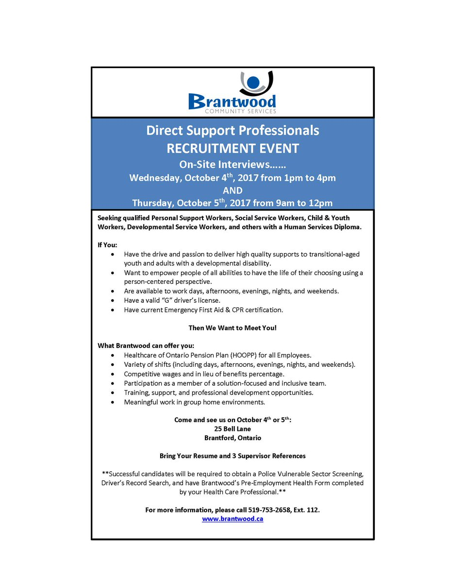 Brantwood on twitter were hosting a direct support brantwood on twitter were hosting a direct support professionals recruitment event on oct 4 and 5 25 bell lane see attached flyer for more details 1betcityfo Images