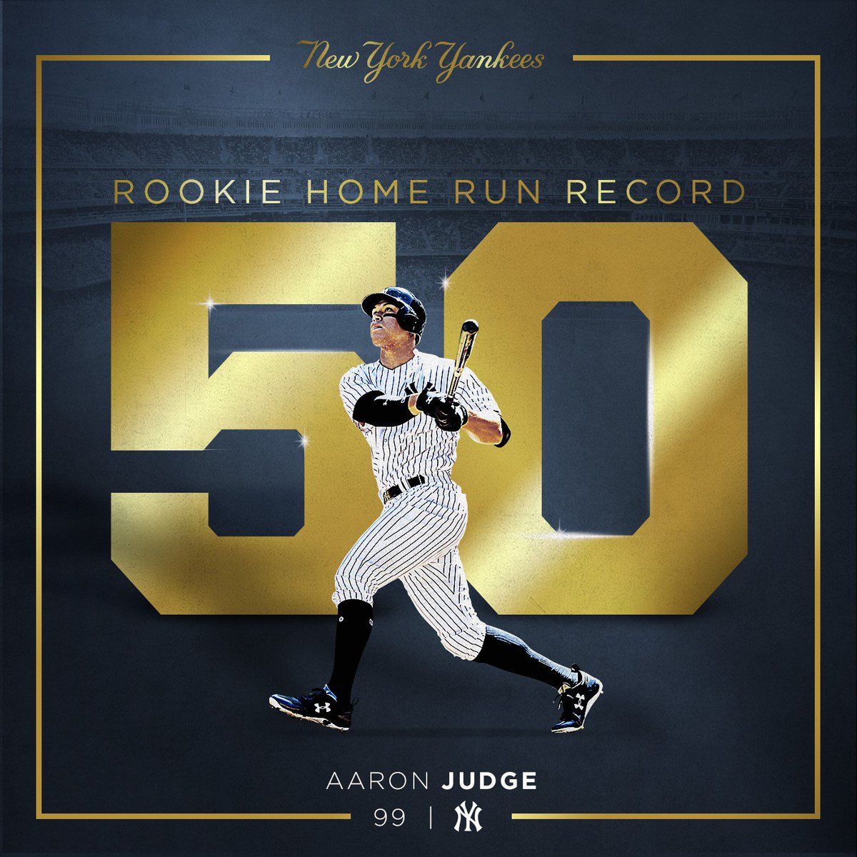 Time to edit the history books!  #AllRise for Aaron Judge – the new record holder for most HR by a rookie!