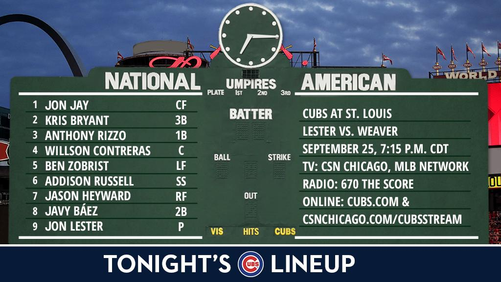 Here is tonight's #Cubs starting lineup.  Game preview: https://t.co/6YenSbHkGJ https://t.co/2eEcx8hYpe