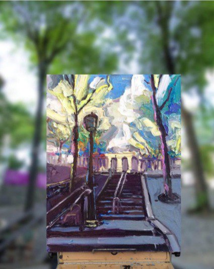 I am finally out &amp; about painting in #Paris! There are 270 steps to reach Sacre Coeur &amp; my calf muscles know them all. &quot;Steps at Montmartre&quot; <br>http://pic.twitter.com/6Kjm5b3xQf