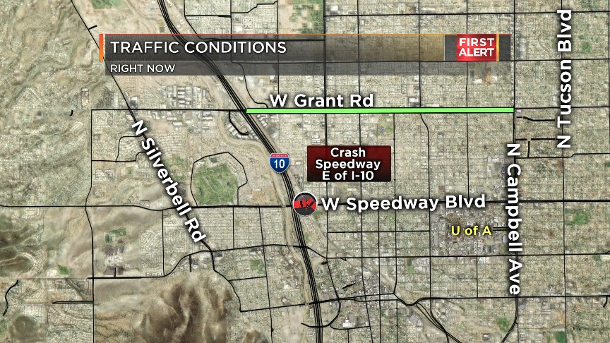#CRASH: New crash on Speedway E of I-10 W of @UofA. Take Grant as alt access to the highway. #Tucson<br>http://pic.twitter.com/aR5uxd4Pia