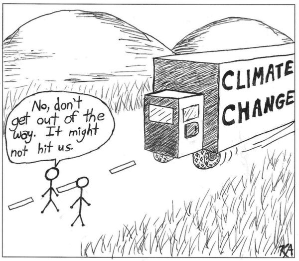 Q: What does a #climate denier do in the face of a speeding track? A: Bet that it won&#39;t hit him. - @cinemaofdreams @PaulHBeckwith @Kalaax008<br>http://pic.twitter.com/CEcUp4mmi4