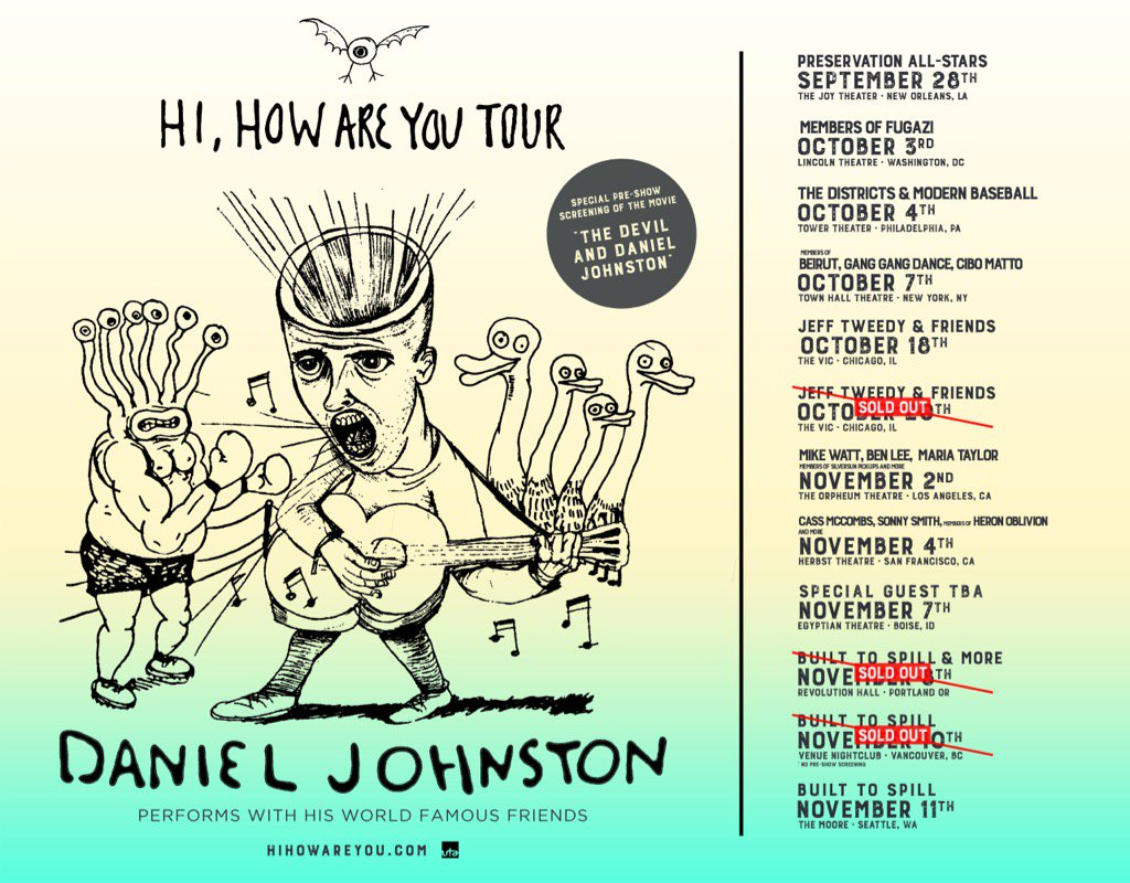 We will be Daniel Johnston's back-up band in Seattle in November