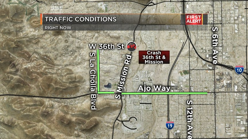 #CRASH: New crash on the south side, at Mission &amp; 36th St. Take Ajo or La Cholla instead. #Tucson<br>http://pic.twitter.com/Zq7B3Xl9ka