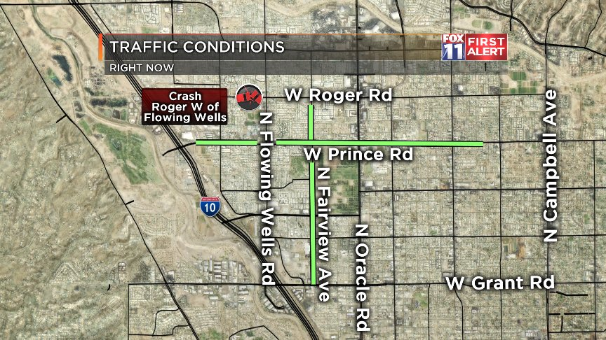#CRASH: We have a new crash on Roger W of Flowing Wells. Try Prince/Fairview instead. #Tucson<br>http://pic.twitter.com/wwH2QriqmS
