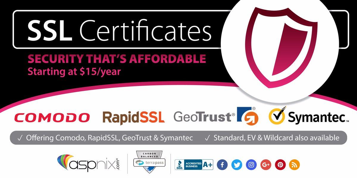 Aspnix Web Hosting On Twitter Ssl Certificates Starting At 15