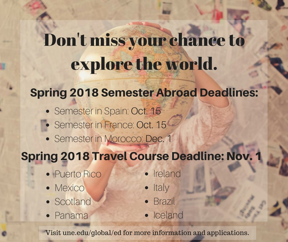 Explore the world with UNE semester programs and travel courses! Get your applications in today  #uneglobal #une #studyabroad #travel<br>http://pic.twitter.com/xrDz8V15WB