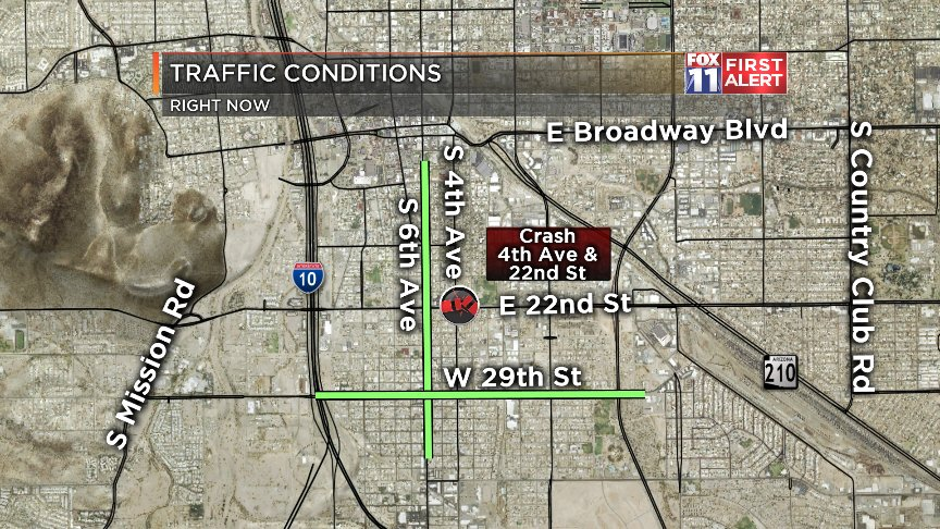 #CRASH: We have a new crash on the south side, at 4th Ave &amp; 22nd St. Take 29th or 6th Ave instead. #Tucson<br>http://pic.twitter.com/EdQdk9cG0h