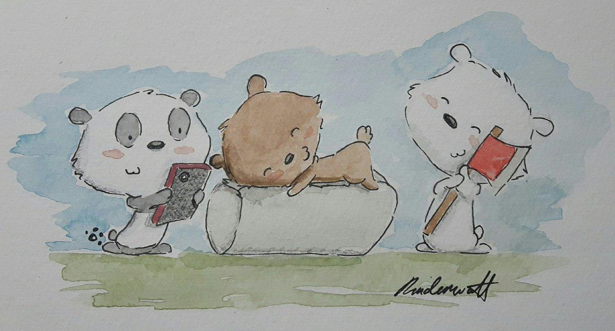 We bear bears in my style ^•^  (One of my favorite cartoons atm)  #webearbears #watercolor <br>http://pic.twitter.com/Kilw6Scim1