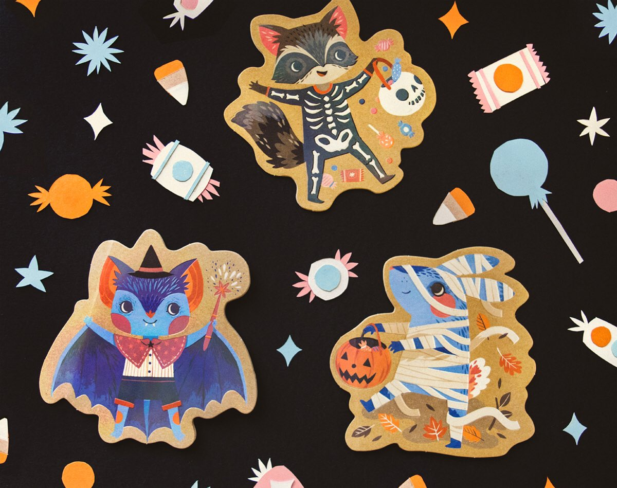 Tiny Moth Studios On Twitter Trick Or Treaters Halloween Cards