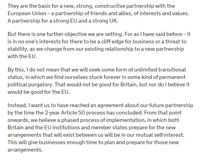 From May&#39;s speech in January. A temporary transition period. No staying the EU in all but name. At the end of it - we&#39;re Out. #Brexit <br>http://pic.twitter.com/SwrZGeU3GP