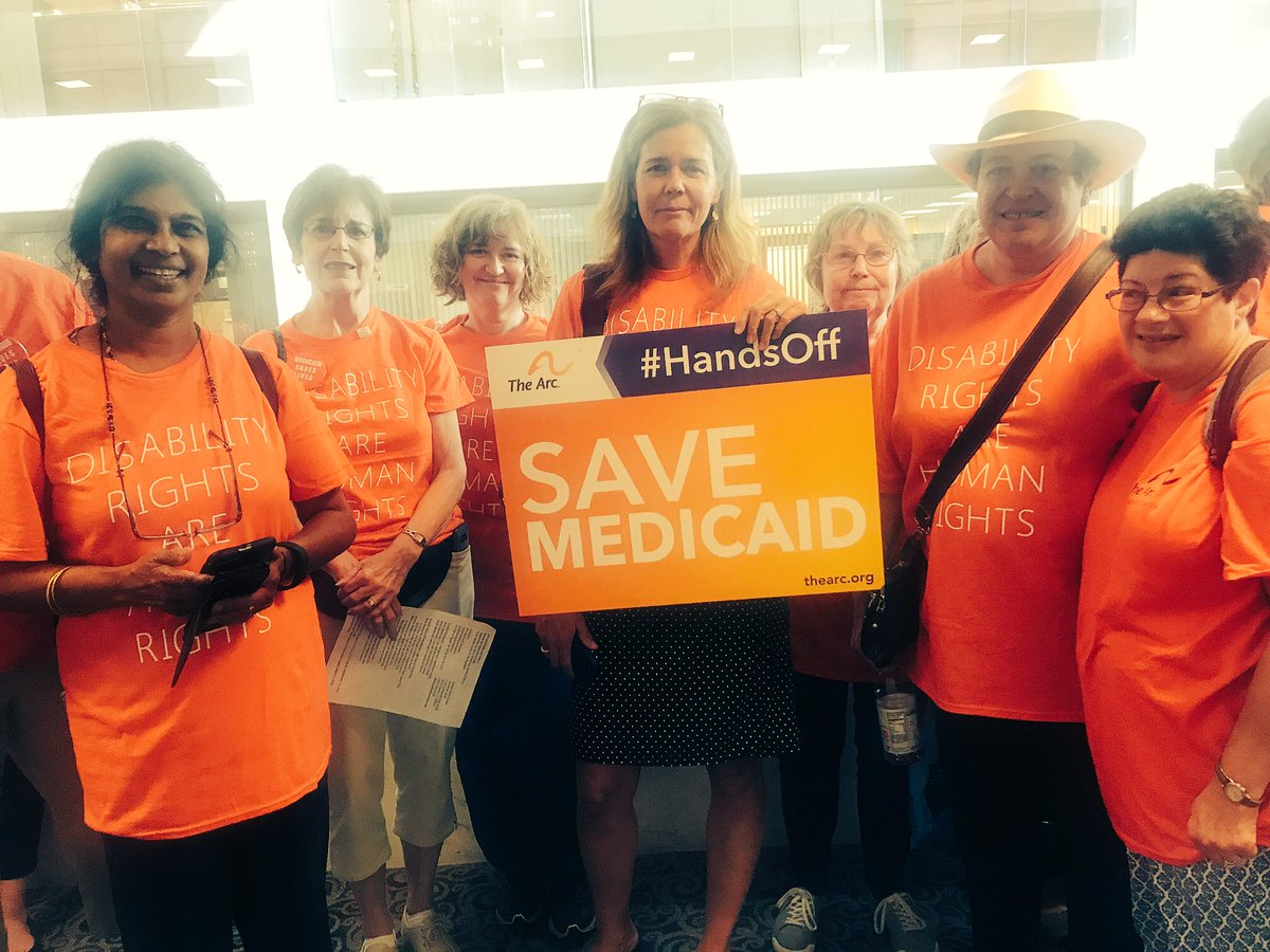 Disability rights = human rights! @TheArcUS activists standing up for #PwD in line to oppose #GrahamCasiddyBill. #SaveMedicaid<br>http://pic.twitter.com/y6QlWN74PF