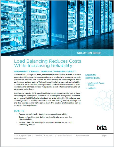 Load Balancing in network packet brokers can help reliability, lower costs. Read our Solution Brief:  https:// hubs.ly/H08H2-J0  &nbsp;   #Ixiacom <br>http://pic.twitter.com/tLEN0uTNmW