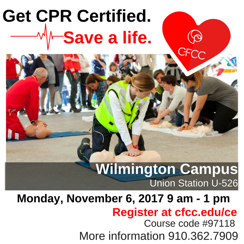 Cfcc On Twitter Save A Life Get Cpr Certified Nov 6 9 Am 1 Pm