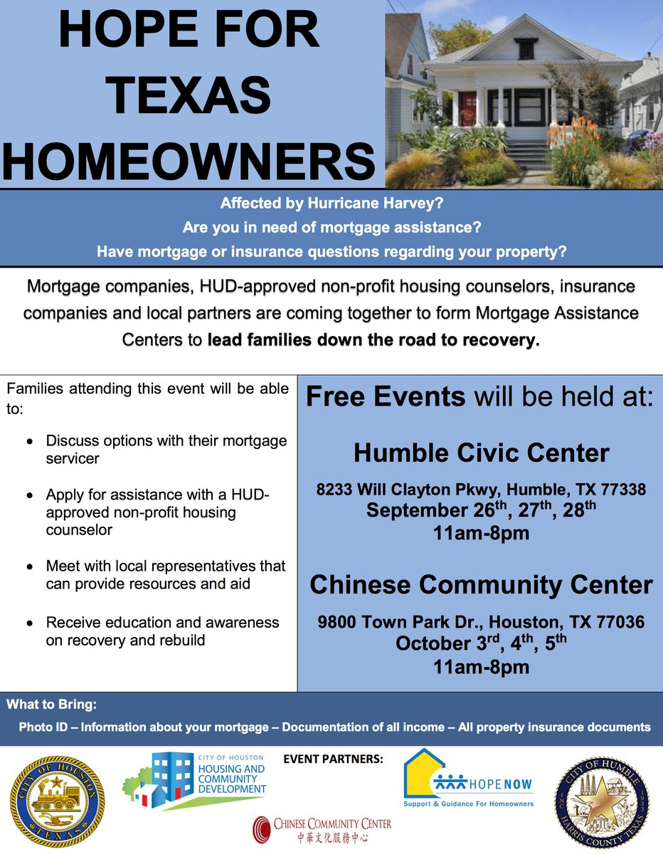 For homeowners impacted by #Harvey, tomorrow in Humble, TX mortgage professionals will be available for free counseling services. <br>http://pic.twitter.com/VRnspgws91
