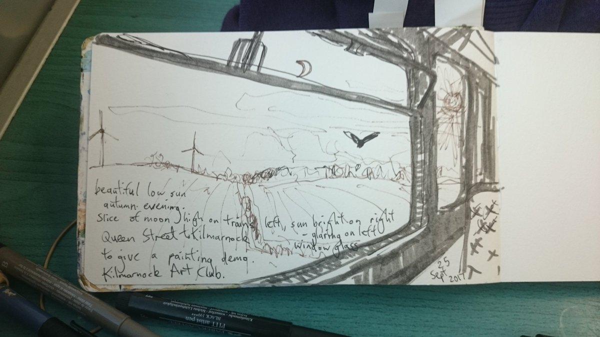 #ScotlandByRail @ScotRail #moon #sun #train #sketch on way 2 #Kilmarnock 2 demonstrate #watercolour to @KilmarnockArt. Beautiful evening :-)<br>http://pic.twitter.com/Hz5wwWS9Xm