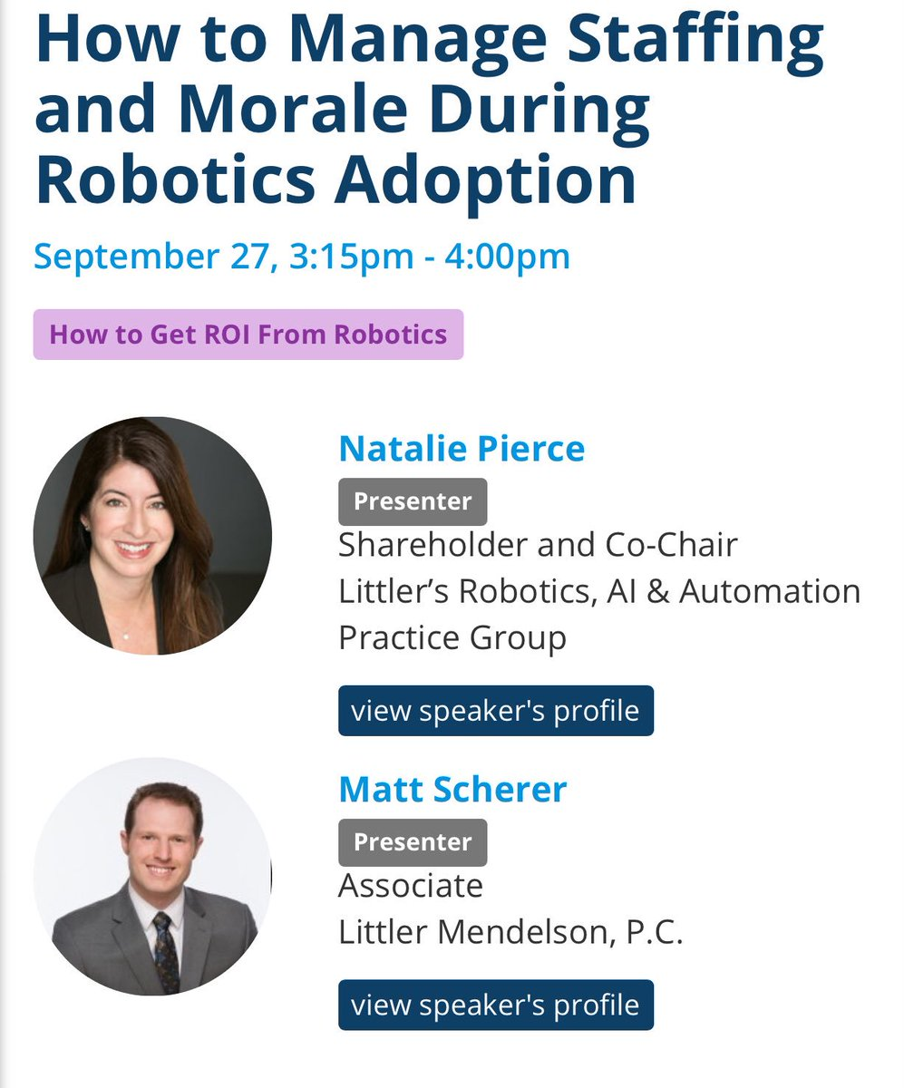 9/27 @ #RoboBusiness: Excited to be co presenting w/my colleague @AiPolicy.  http:// bit.ly/2jWEKyl  &nbsp;   #ROI #Robotics #futureofwork #emplaw #AI<br>http://pic.twitter.com/mGTt2TIJjV