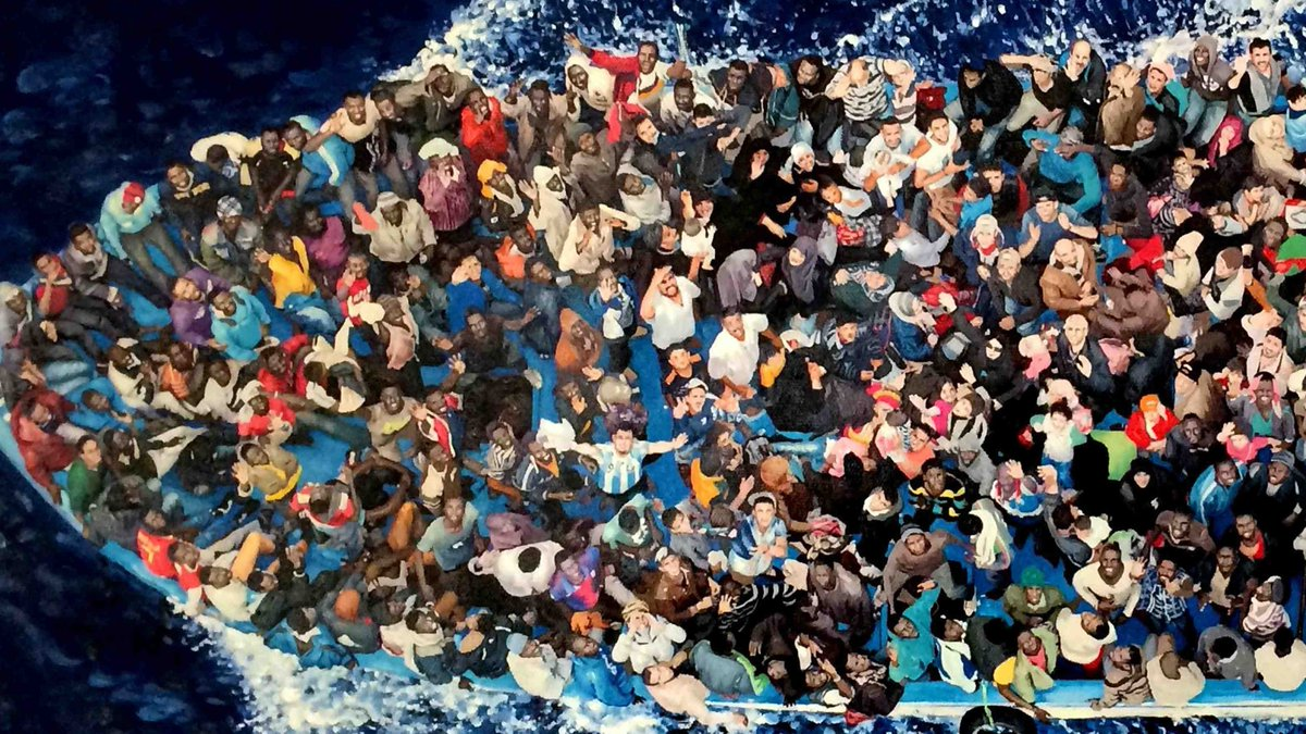 307 #refugees in a painting. Inspired by helicopter pic taken during rescue of migrants leaving #Libya. Won the 2017 Amlin World #Art prize.<br>http://pic.twitter.com/yn9whBjWf7
