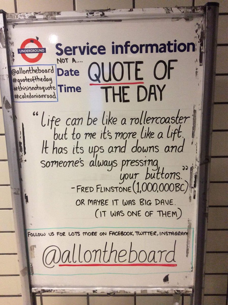 Not a .... Quote Of The Day @allontheboard @towerhilltube @Oval_station @willesdenstaff #quoteoftheday #Quote #upsanddowns #buttons #QOTD<br>http://pic.twitter.com/hRdtwY5fJg
