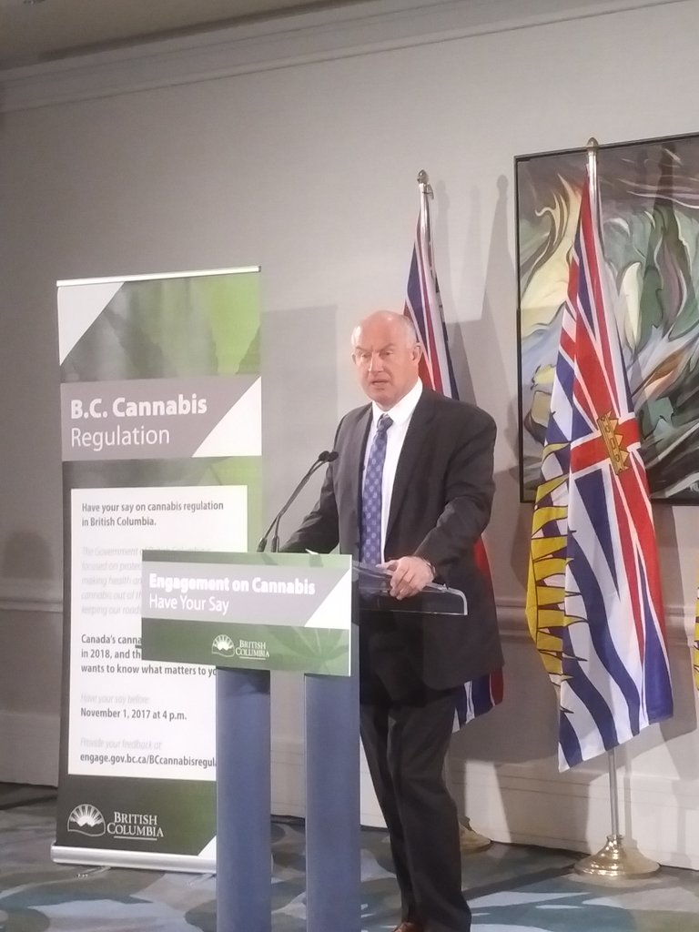#BC Minister of Public Safety, General Mike Farnworth, says there will be a website for public input on the legalization of #cannabis <br>http://pic.twitter.com/YDKtC2rovp