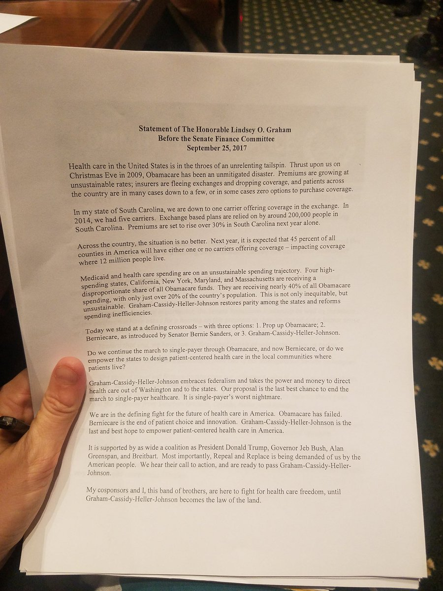 be380941213b LindseyGrahamSC prepared statement. He usually wings his  remarks.pic.twitter.com/vHgFisExxX