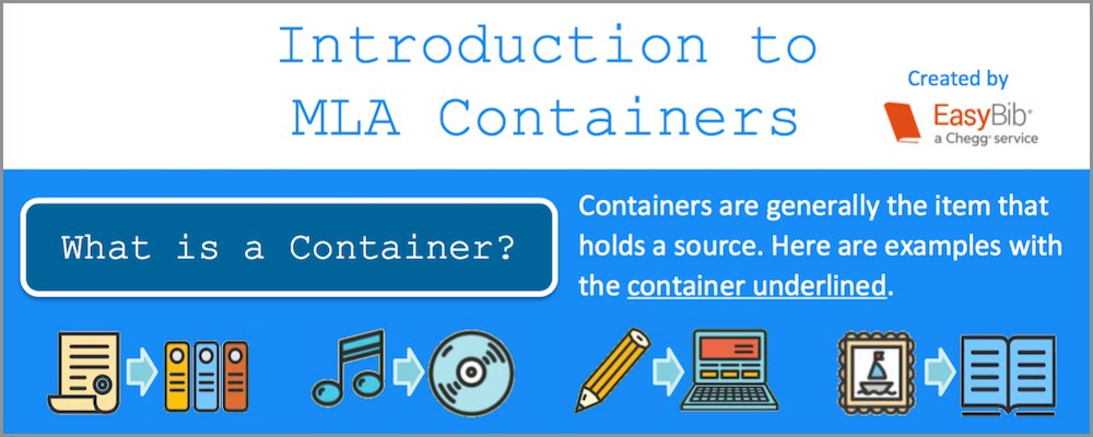 Visual Guide to MLA 8 Containers. Show, print, and share!  http:// ow.ly/tBWh30ffxJG  &nbsp;   #tlchat #libchat #mla8 #citations <br>http://pic.twitter.com/eOUF0aLu7f