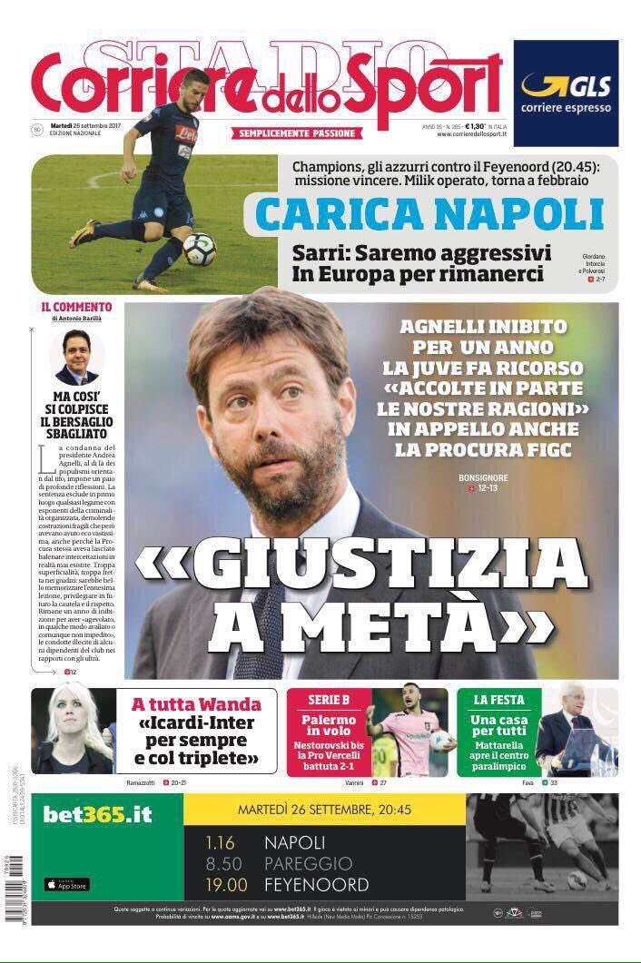 Front pages of #CdS &amp; #TS on #FIGC&#39;s tribunal completely ruling out any rapport between #Juve pres #Agnelli &amp; the MAFIA<br>http://pic.twitter.com/7juroXSuOh
