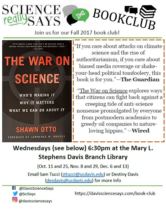 Join @_SamTucci_ and @DestinyatDavis for #bookclub #waronscience #scicomm <br>http://pic.twitter.com/Szbdw08Ye9