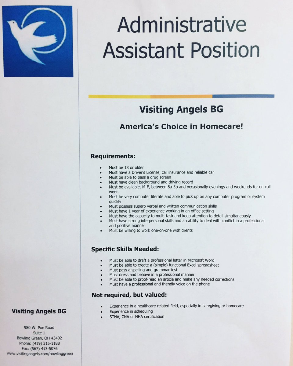 Visiting Angels On Twitter We Are Looking For An Administrative