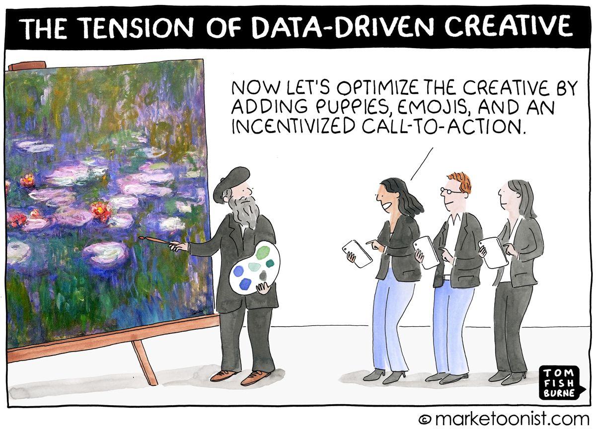 The Tension of Data-Driven Creative  https:// buff.ly/2wKuBdU  &nbsp;   @marketoonist @tomfishburne #mrx <br>http://pic.twitter.com/3C0MEdteij