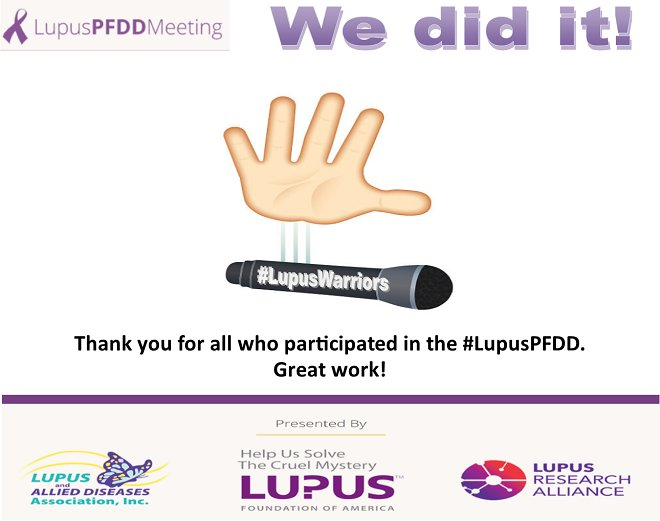 The #LupusPFDD may have come to an end, but it&#39;s a new beginning for us.  TY to all those living w/ #lupus &amp; those who made today possible! <br>http://pic.twitter.com/MYL7MLJA5h