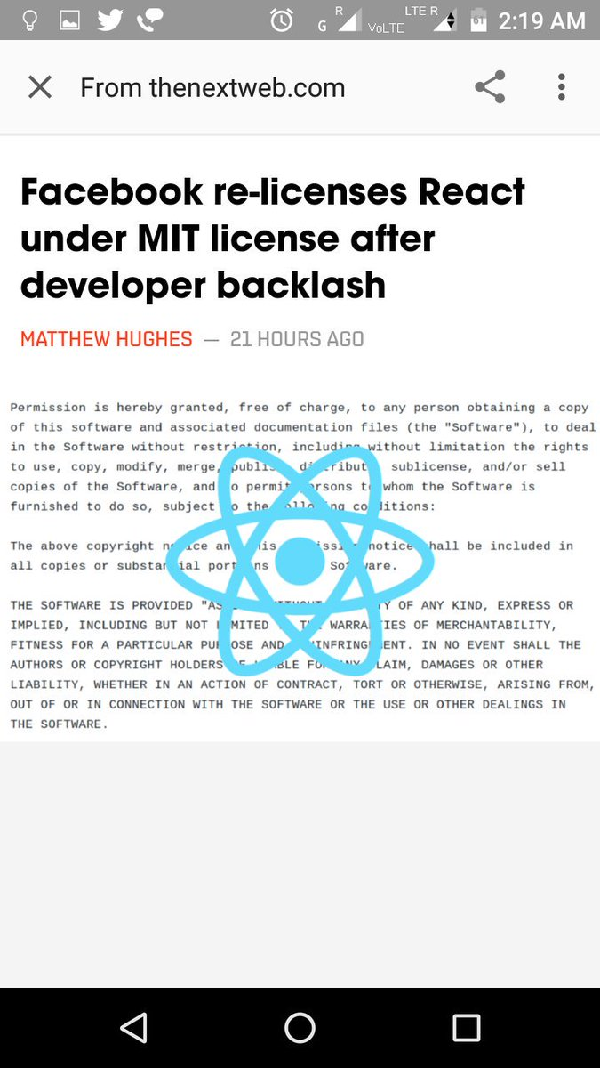 Facebook finally reacted for its #react library. #OpenSource #MIT #License <br>http://pic.twitter.com/Qgnwv0oZ1N