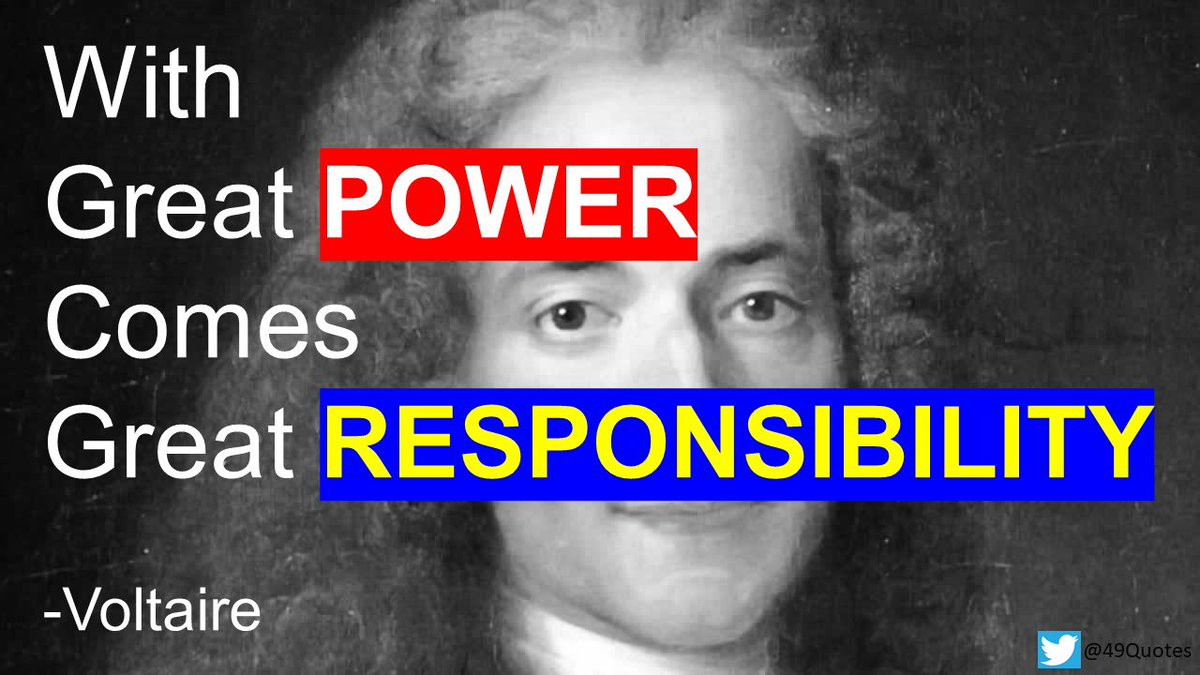 With great power comes great responsibility.-Voltaire #Quotes #QuoteOfTheDay #Voltaire #Power #Responsibility<br>http://pic.twitter.com/DNj2YKBWHR