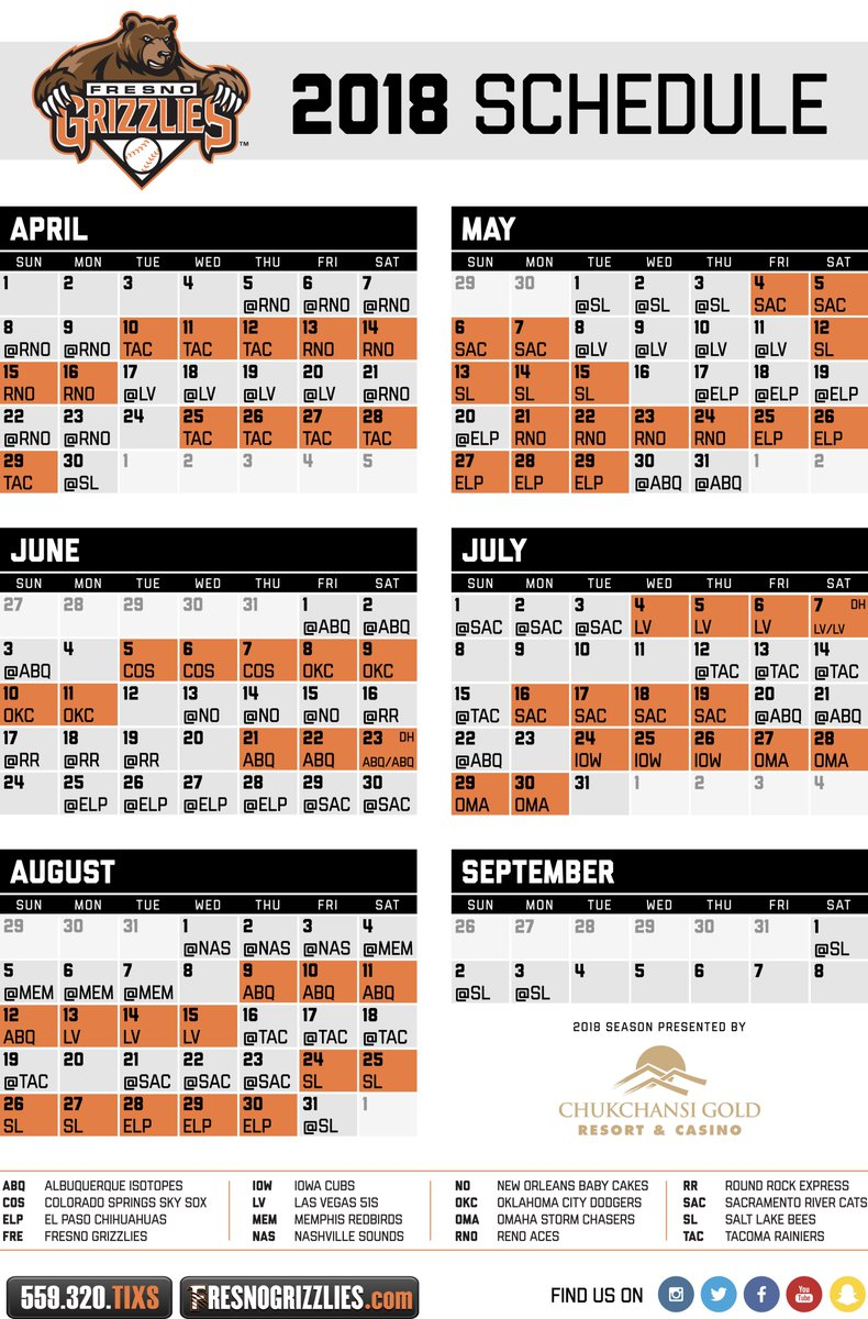 Grizzlies Schedule 2019 Fresno Grizzlies on Twitter: