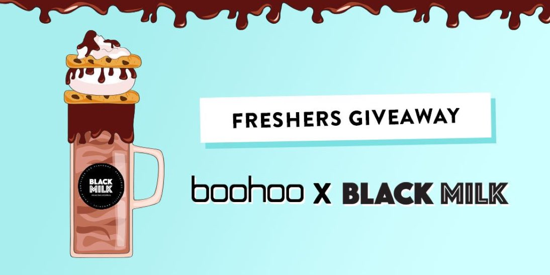 #freshers #giveaway!  Retweet &amp; follow @boohoo &amp; @blackmilkcereal for the chance to #win a meal for 2 and a £100 voucher!  #competition <br>http://pic.twitter.com/eJDalPuJn1