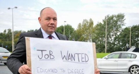 Ex-soldier stands by roundabout with 'job wanted' sign after 400 rejec...