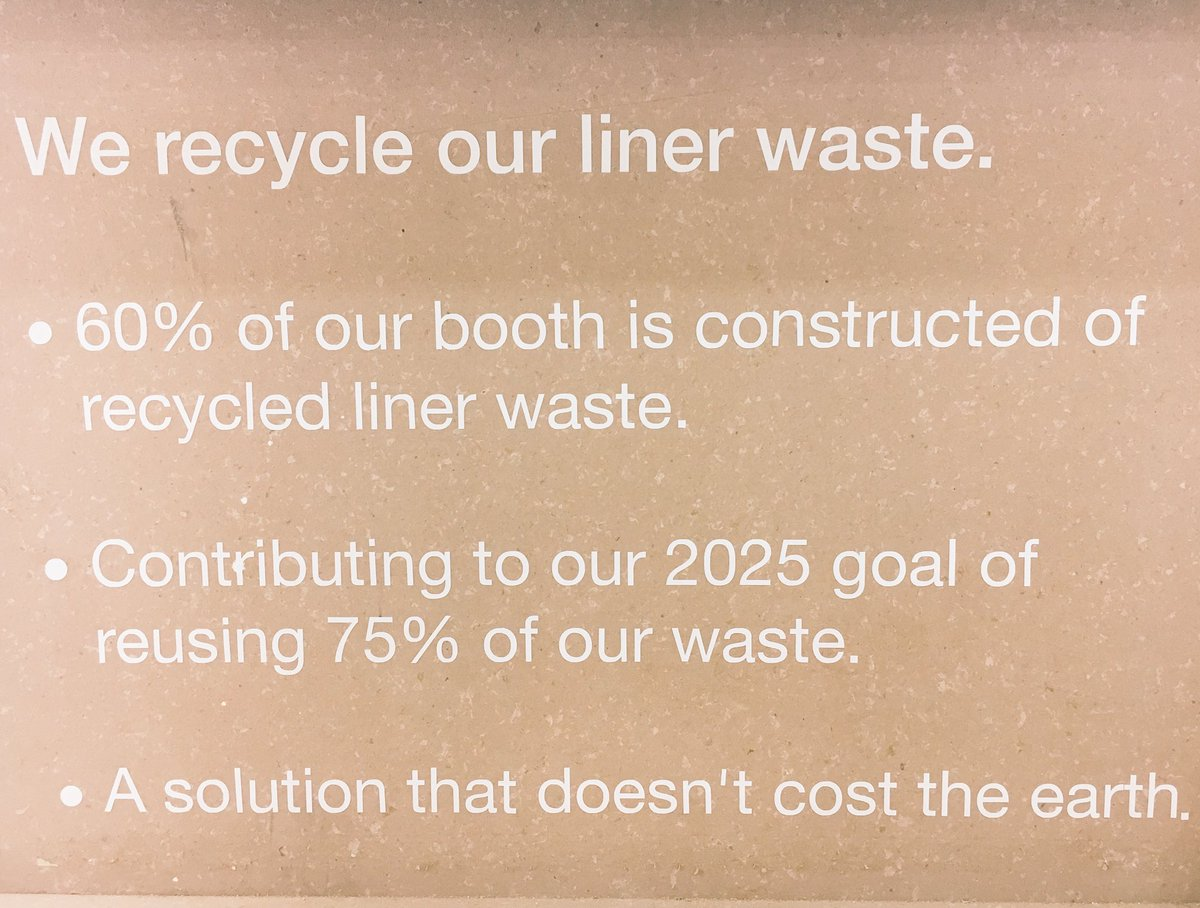 Happy that 60% of our @Labelexpo booth is made of our own liner waste @AveryDennison @lpm_eu #waste #sustainability @HelenSahi @amywhite76<br>http://pic.twitter.com/1yJDuieS9m