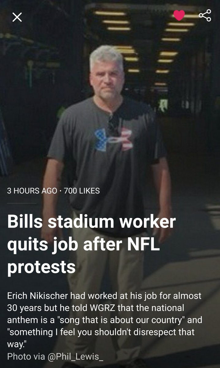 Erich, @buffalobills stadium worker quits after @NFL protests (after almost 30yrs of employment)! #StandForOurAnthem Erich got it right #USA <br>http://pic.twitter.com/S0BNfbCGRy