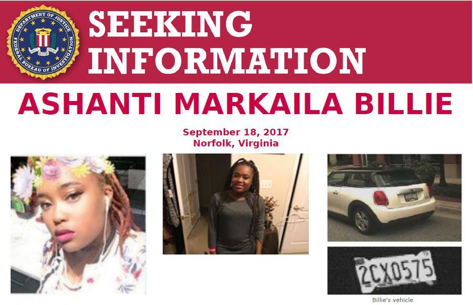 #FBI is seeking info. in the disappearance of Ashanti Billie in Norfolk, VA. Up to $10,000 reward being offered:  https://www. fbi.gov/wanted/seeking -info/ashanti-markaila-billie &nbsp; … <br>http://pic.twitter.com/DJWcDI3PbU
