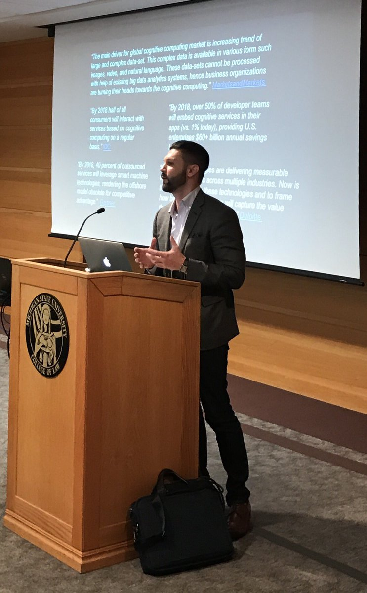 When will those who procure legal services demand that lawyers use #LegalTech?   When will #AI become table stakes?  - @lexcuriae  #LegalRnD<br>http://pic.twitter.com/Dc3jrmCK3B &ndash; at MSU College of Law