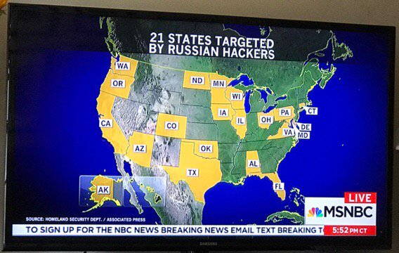 Why did it take 10 months to tell these 21 states they were targets of Russian Hackers? #Wisconsin #Michigan @MSNBC?<br>http://pic.twitter.com/zhsua57Ii7