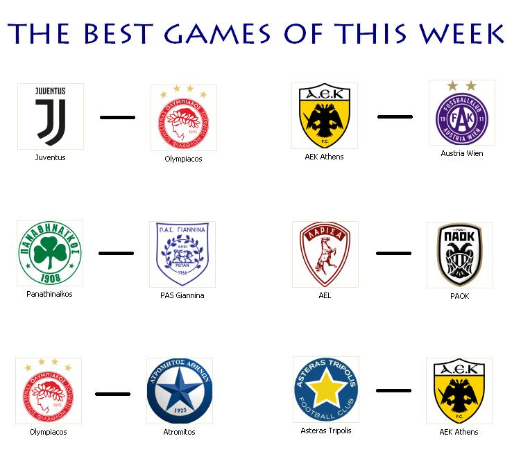 What a week! #athlitika #sports #football #podosfairo #ucl #uel #olympiacos #panathnaikos #aek #paok #slgr #Greece @juventusfcen #juve<br>http://pic.twitter.com/jesIsWgExU