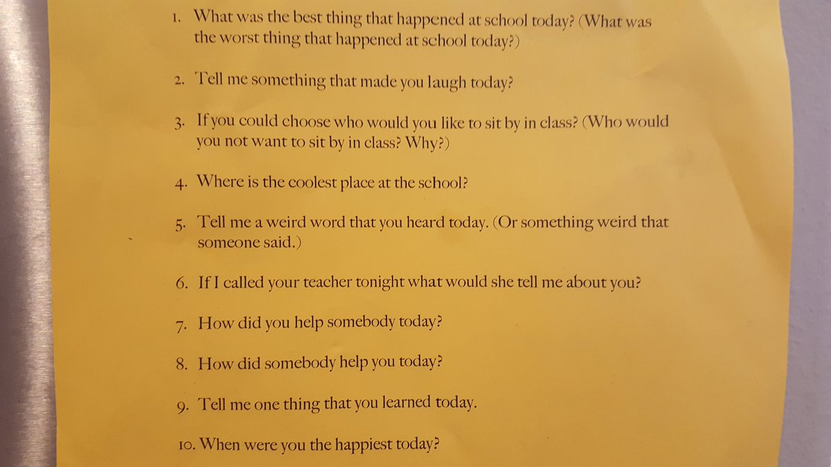 "10 ways to ask your child ""How was school today?"" https://t.co/fZVnwz0vIt"