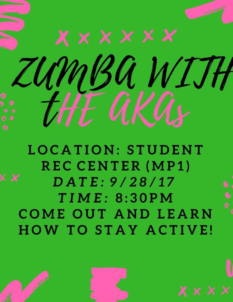 Want to work out and have fun at the same time? Join @SFA_AKAs this Thursday for ZUMBA!!! See y&#39;all there! #AKA #HE #Zumba <br>http://pic.twitter.com/Qu7UzDzR3p