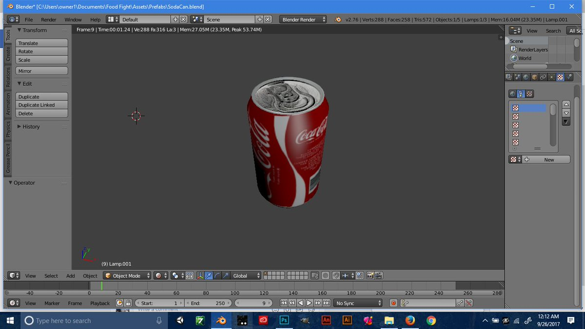 Added some Bmaps, added the coke label (changing later when added to &quot;Food Fight&quot;).  #Unity3d #Blender3d #unity #3Dmodeling #indiedev #indie <br>http://pic.twitter.com/rQMzASZdWZ